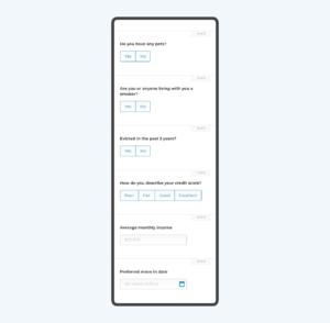 Renter profile pre screening questions