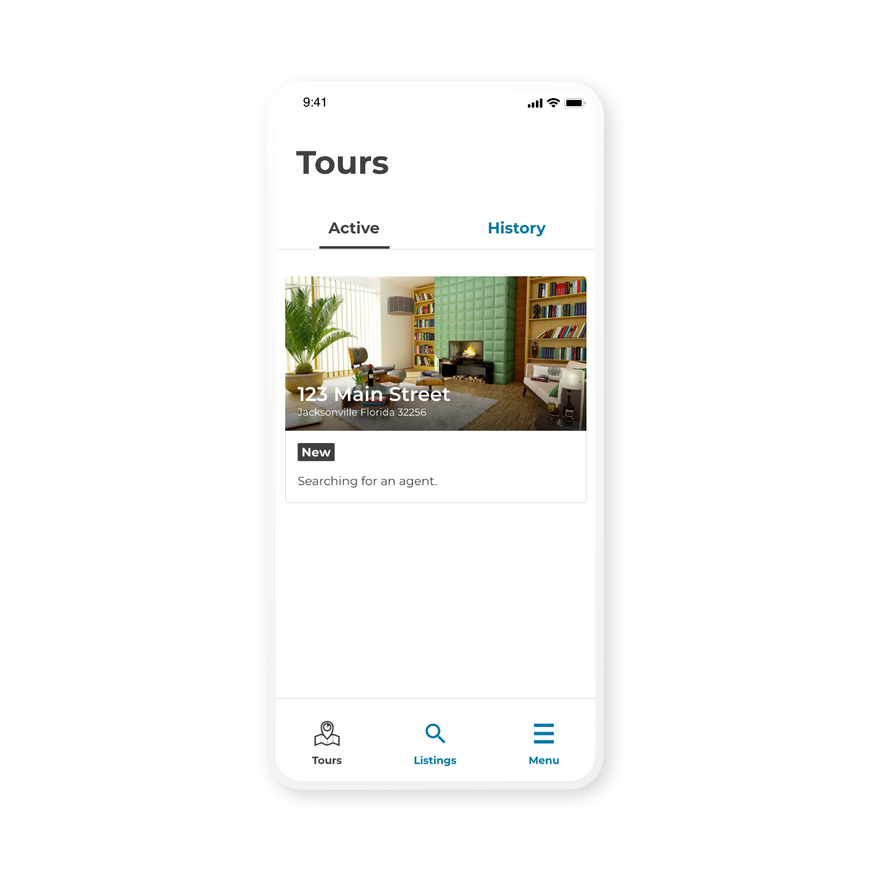 App screen active tour view renter